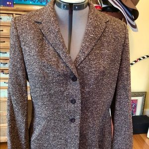 Petite Sophisticate brown Marled blazer. Size 12